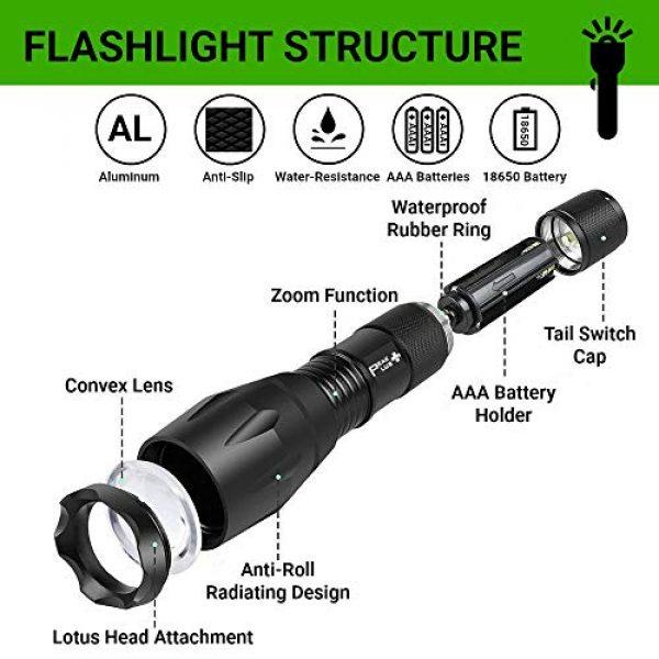 PeakPlus Survival Flashlight 4 PeakPlus LED Tactical Flashlight - Brightest Max 800 Lumens EDC Flashlight, High Powered Zoom 5 Modes Tac Light For Camping, Spotlight, Military, Emergency