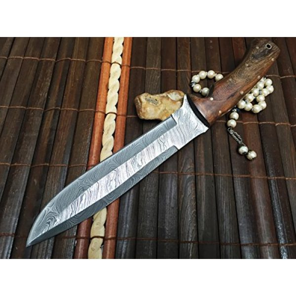 Perkin Fixed Blade Survival Knife 5 Perkin Knives - Custom Handmade Damascus Hunting Knife - Beautiful Bowie Knife