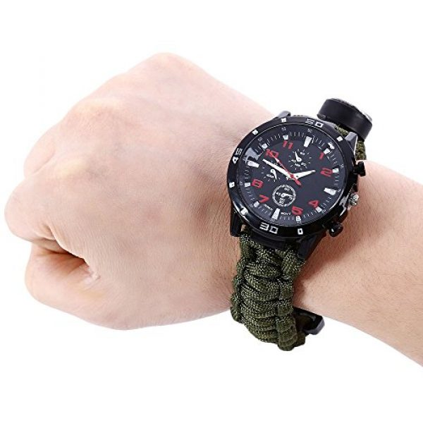 Wsobue Survival Paracord Bracelet 3 Men Women Emergency Survival Watch with Paracord,Compass,Whistle,Fire Starter, Analog Watches, Survival Gear,Water Resistant,Adjustable