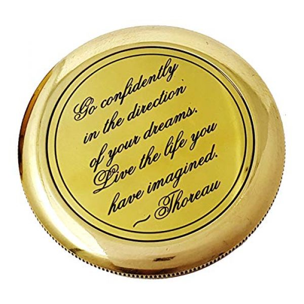 Brass Nautical Survival Compass 4 Brass Nautical - Go Confidently in The Direction of Your Dreams Thoreau's Quote Compass W/Case