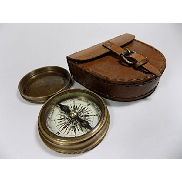 THORINSTRUMENTS Survival Compass 2 Authentic Vintage Style Brass Pocket Compass with Leather Case