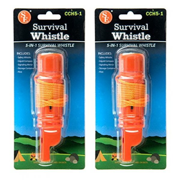 SE Survival Whistle 7 SE 5-in-1 Survival Whistles (2-Pack) - CCH5-1-2