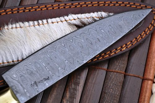 Perkin Knives  4 Perkin Knives - Custom Handmade Damascus Hunting Knife - Beautiful Kitchen & Camping Knife