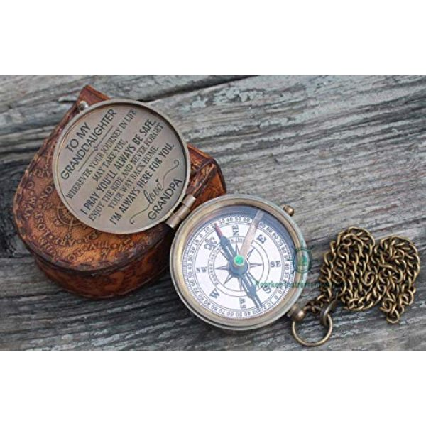 Roorkee Instruments India Survival Compass 2 ROORKEE INSTRUMENTS (INDIA) A NAUTICAL REPRODUCTION HOUSE Pocket Compass to My Grandson/to My Granddaughter with Leather case