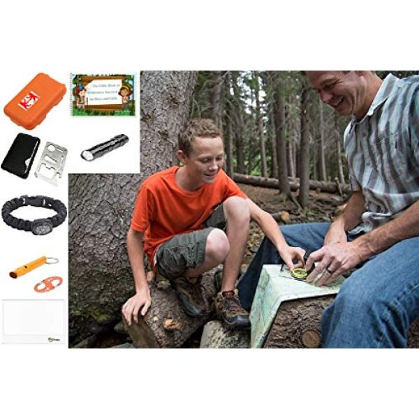 EZ Survival Kit 5 EZ Outdoor Adventure Kit for Boys and Girls The Little Book of Wilderness Survival, Waterproof Box, Multi-Functional Tool, Magnifying Lens, Paracord Bracelet with Compass, Whistle, Flashlight, Hook