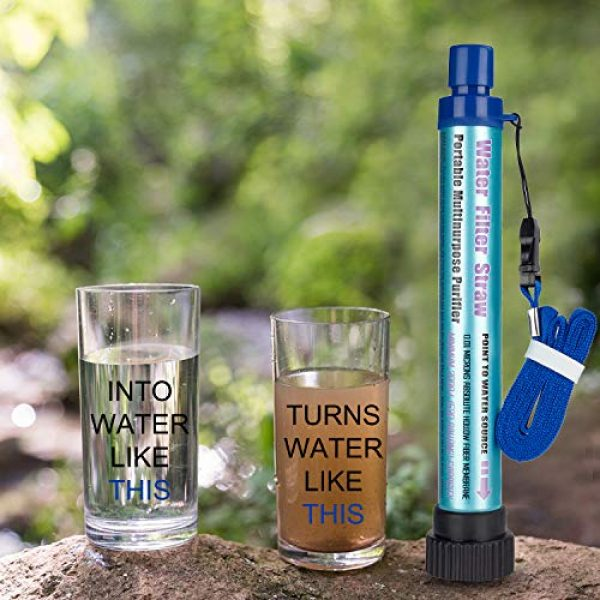 DOTSOG Survival Water Filter 5 DOTSOG 2 Pack Personal Water Filter Straw BPA Free with 2000L 4-Stage,Portable Water Purifier Lightweight for Hiking Camping Survival Outdoor Backpacking Traveling Emergency