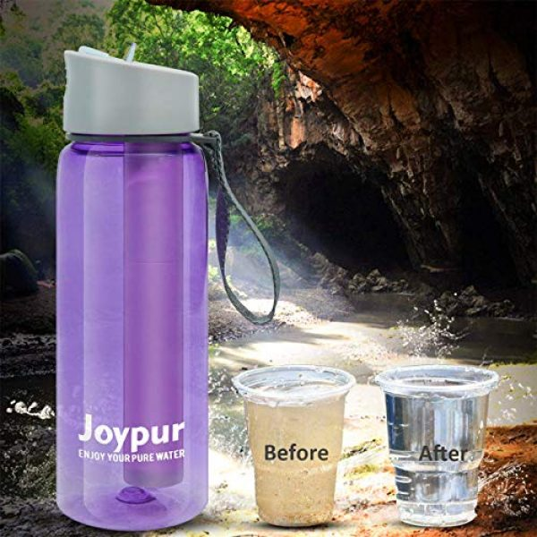 joypur Survival Water Filter 7 joypur Outdoor Filtered Water Bottle - BPA Free,with Filter Integrated 3 Stage Portable Water Bottle for Camping Travel Hiking Backpacking
