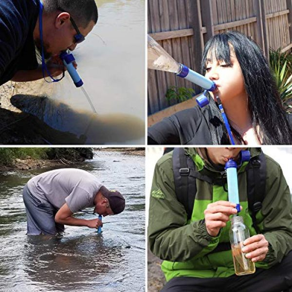 ioutdoor Survival Water Filter 6 ioutdoor CE Certified Water Filter Straw with Free Emergency Blankets,Portable Lightweight Personal Water Purifier Prepared for Hiking Camping Fishing Hunting Backpacking Travel