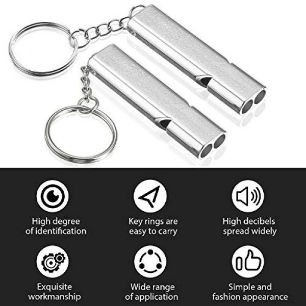 Frienda Survival Whistle 3 10 Pieces Emergency Whistles Safety Survival Whistles High Pitch Double Tubes Metal Whistle for Outdoor Camping Hiking Boating Hunting Fishing