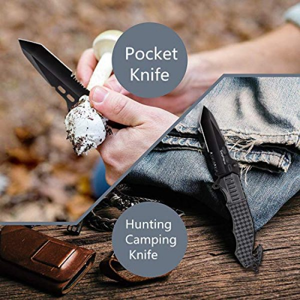 Seenew Folding Survival Knife 7 Tactical Folding Knife - Escape Pocket Knife, Emergency Knife and Survival Knife w/ 3.6 Inch Serrated Edge Knife Blade and Glass Breaker and Seatbelt Cutter