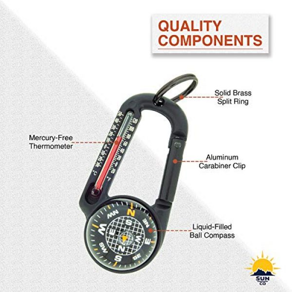 Sun Company Survival Compass 7 Sun Company TempaComp - Ball Compass and Thermometer Carabiner   Hiking, Backpacking, and Camping Accessory   Clip On to Pack, Parka, or Jacket