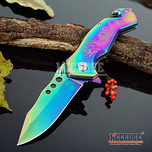 KCCEDGE BEST CUTLERY SOURCE  4 KCCEDGE BEST CUTLERY SOURCE EDC Pocket Knife Camping Accessories Razor Sharp Edge Drop Point Blade Folding Knife Camping Gear Survival Kit 58595