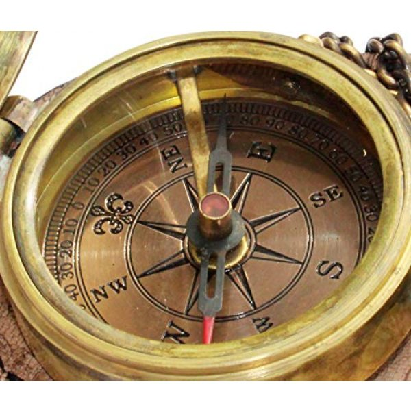 MAH Survival Compass 5 MAH Grow Old with ME Engraved Brass Compass ON Chain with Leather CASE, Directional Magnetic Compass. C-3273