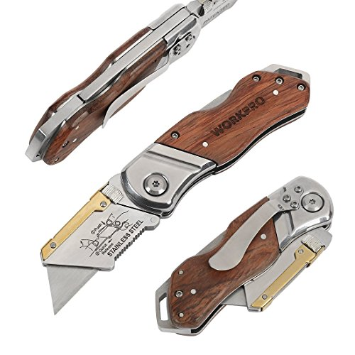 WORKPRO  2 WORKPRO Folding Utility Knife Wood Handle Heavy Duty Cutter with Extra 10-piece Blade