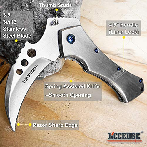 KCCEDGE BEST CUTLERY SOURCE  2 KCCEDGE BEST CUTLERY SOURCE Pocket Knife Camping Accessories Survival Kit 5 Inch Grim Reaper Scythe Tactical Knife Hunting Knife Camping Gear 78364