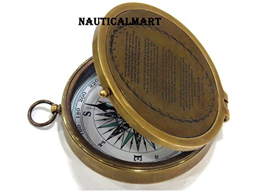 NauticalMart Survival Compass 4 NauticalMart Brass Compass Robert Frost Poem Engraved Embossed Needle with Leather Case