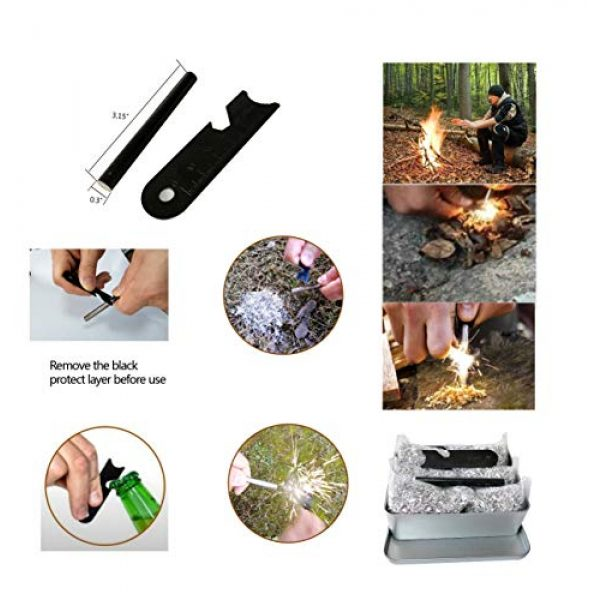 eGreen Survival Fire Starter 4 Emergency Fire Starter Ferro or Flint Rod Striker Magnesium 6 Bags 99.99% Camping Hiking Bushcraft Survial Outdoor Gear Waterproof and Weatherproof + Free Tin Box