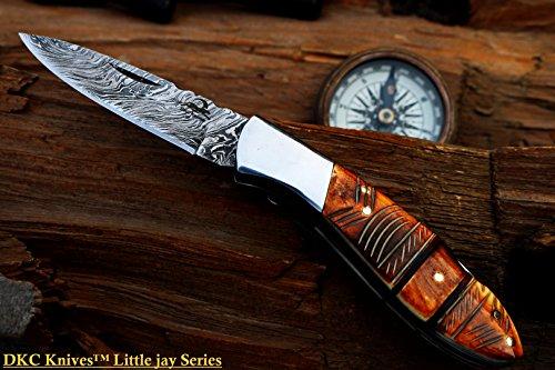 "DKC Knives  5 DKC Knives DKC-58-LJ-EH-DS-PC Little Jay Chief Pocket Clip Damascus Steel Folding Pocket Knife Handle 4"" Folded 7"" Long 4.7oz oz High Class Looks Hand Made LJ-Series"