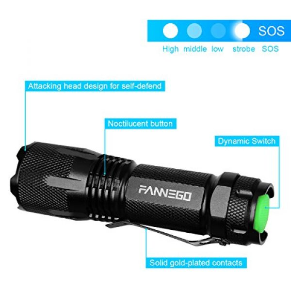 FANNEGO Survival Flashlight 2 LED Flashlight,FANNEGO Tactical Torch Light Handheld LNG Hunting Sight Zoomable and Waterproof for Camping Hikiearch Survival,Batteries Not Included