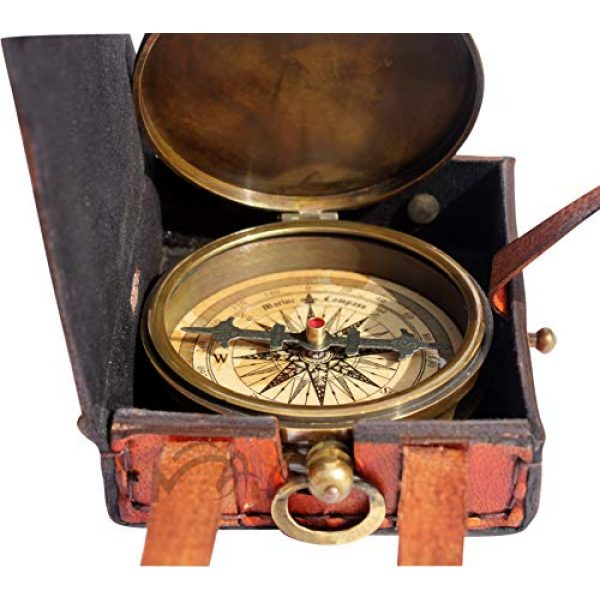 MAH Survival Compass 3 MAH ''Robert Frost Poem'' Engraved Antiquated Finish Brass Compass with Case. C-3240