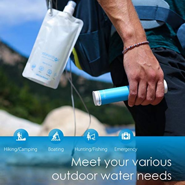 Waterdrop Survival Water Filter 4 Waterdrop Water Filter Straw with Gravity Water Bag, Portable Camping Filtration System, Drinking Water Purifier for Emergency Hiking Travel Backpacking