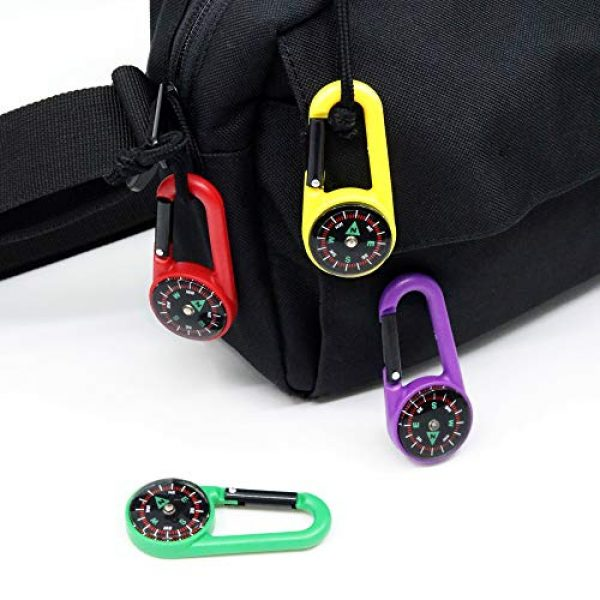 MIASTAR Survival Compass 3 Compass Climbing Carabiner 12pcs Outdoor Camping Accessory Self Locking Carabiner Clip Hook Keychain - 2.5 Inches Assorted Colors Plastic Carabiner for Kids - Camping, Backpacking, Party Favors, Toy