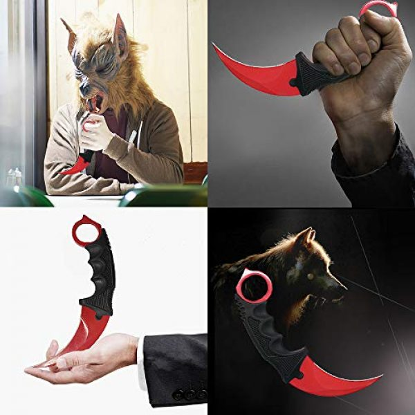TOPOINT Fixed Blade Survival Knife 3 TOPOINT Karambit Knife,Stainless Steel Fixed Blade Tactical Knife with Sheath and Cord Knife Cs-Go for Hunting Camping Self Defenses and Field Survival,Color Red