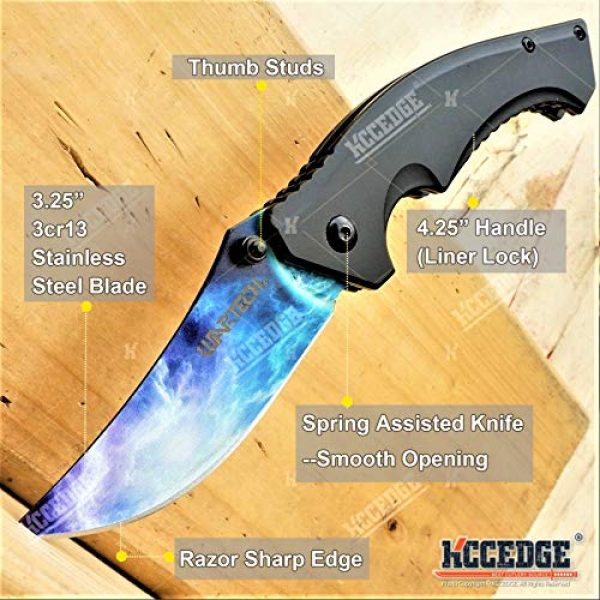 KCCEDGE BEST CUTLERY SOURCE Folding Survival Knife 2 KCCEDGE BEST CUTLERY SOURCE Pocket Knife Camping Accessories Survival Kit Razor Sharp Trailing Point EDC Tactical Knife Hunting Knife Camping Gear Folding Knife 56164