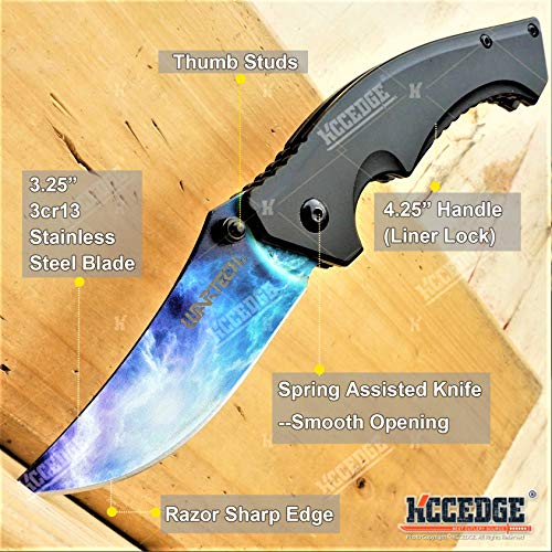 KCCEDGE BEST CUTLERY SOURCE  2 KCCEDGE BEST CUTLERY SOURCE Pocket Knife Camping Accessories Survival Kit Razor Sharp Trailing Point EDC Tactical Knife Hunting Knife Camping Gear Folding Knife 56164
