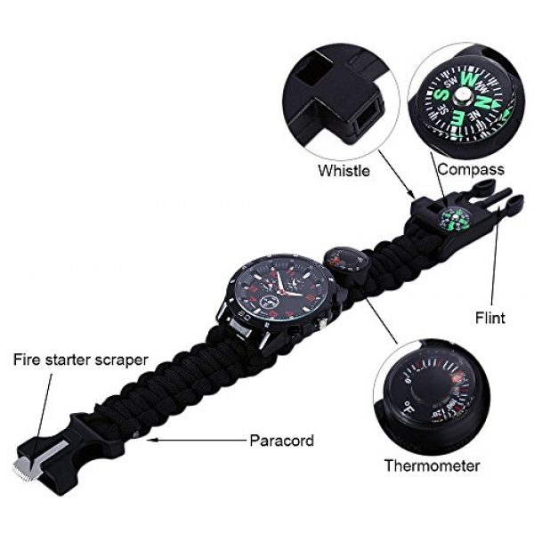 Wsobue Survival Paracord Bracelet 6 Men Women Emergency Survival Watch with Paracord,Compass,Whistle,Fire Starter, Analog Watches, Survival Gear,Water Resistant,Adjustable