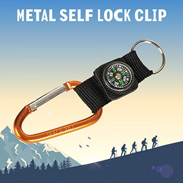 Kicko Survival Compass 4 Kicko Rock Clip Keychain with Compass Design - 12 Pack Metal Self Lock Clip - Clasps for Bag and Belt Loop Accessory, Outdoor Activities, Traveling Guide, Sporting Tool, Party Favors