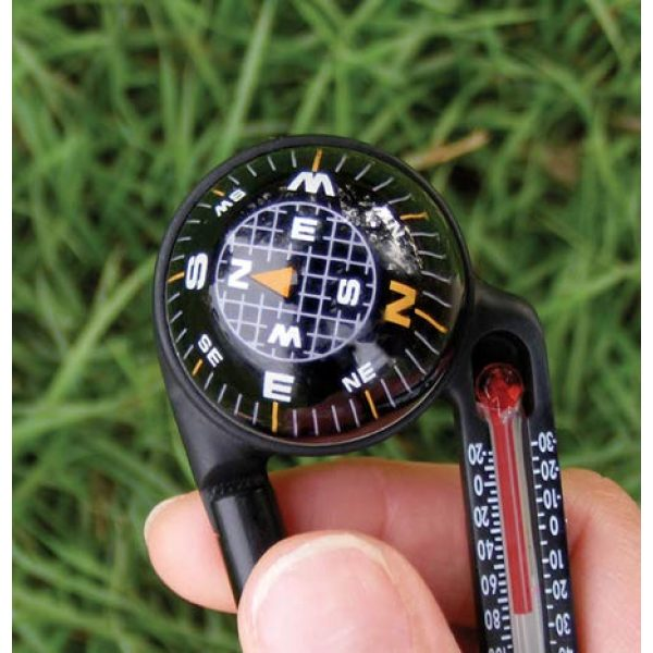 Sun Company Survival Compass 4 Sun Company TempaComp - Ball Compass and Thermometer Carabiner   Hiking, Backpacking, and Camping Accessory   Clip On to Pack, Parka, or Jacket