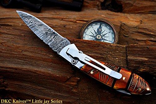 "DKC Knives  2 DKC Knives DKC-58-LJ-EH-DS-PC Little Jay Chief Pocket Clip Damascus Steel Folding Pocket Knife Handle 4"" Folded 7"" Long 4.7oz oz High Class Looks Hand Made LJ-Series"