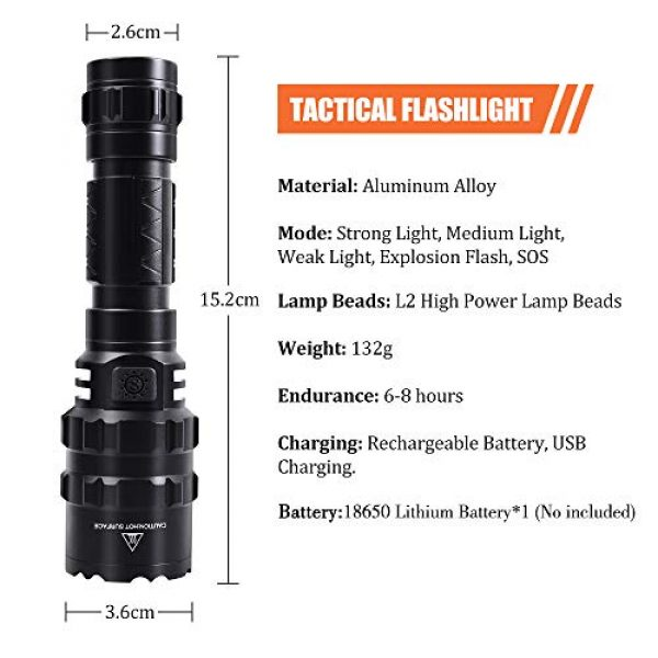 AIRSSON Survival Flashlight 4 AIRSSON Tactical Flashlight,Rechargeable Flashlight Put on Rifle with Remote Pressure Switch,1600 High Lumens 5 Modes for Outdoor Hunting Camping Hiking Fishing Biking