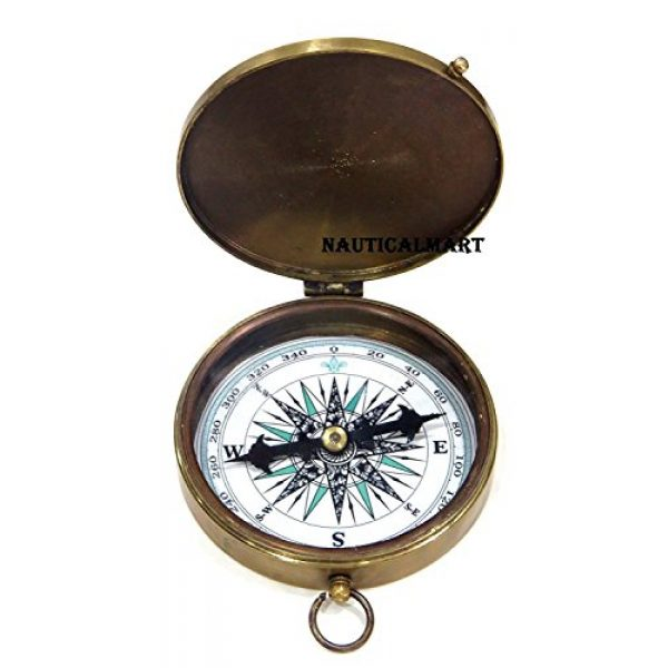 NauticalMart Survival Compass 2 NauticalMart Brass Compass Robert Frost Poem Engraved Embossed Needle with Leather Case