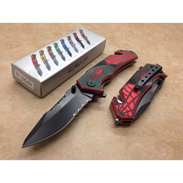 TAC Force Folding Survival Knife 2 TAC Force Assisted Opening Spider WEB Design Handle Rescue Tactical Black Stainless Steel Blade for Hunting Camping Outdoor - Black/red
