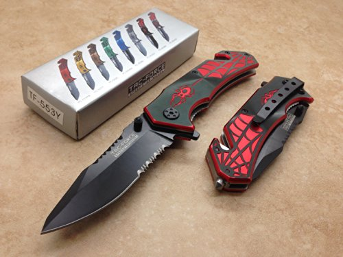 TAC Force  2 TAC Force Assisted Opening Spider WEB Design Handle Rescue Tactical Black Stainless Steel Blade for Hunting Camping Outdoor - Black/red