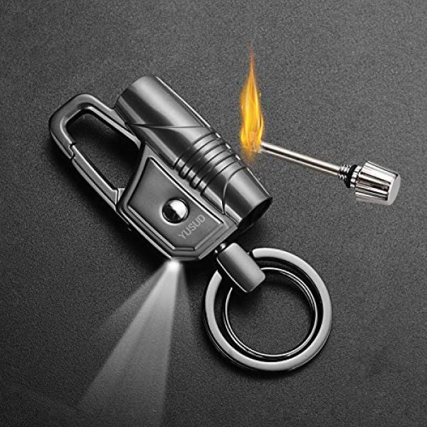 yusud Survival Keychain 2 Multitool Keychain LED Flashlight with Permanent Match Lighter, Forever Flint Firestarter Survival Gear for Camping Hiking Outdoor Adventure