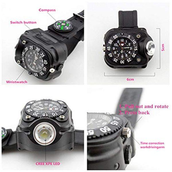 FomaTrade Survival Flashlight 5 FomaTrade Super Bright Wrist LED Light Rechargeable Waterproof LED Flashlight Wristlight,Watch Flashlight with Compass Tactical Flashlights for Outdoor Running, Hiking, Camping, Biking(Black)