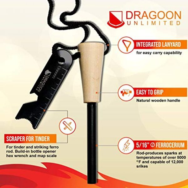 Dragoon Unlimited Survival Fire Starter 3 Dragoon Unlimited Fire Starter Kit - Traditional Bushcraft Ferro Rod - Emergency Survival Tool - Handmade Wooden Handle - Perfect for Camping, Hiking, Adventure Trips - 12,000-20,000 Strikes