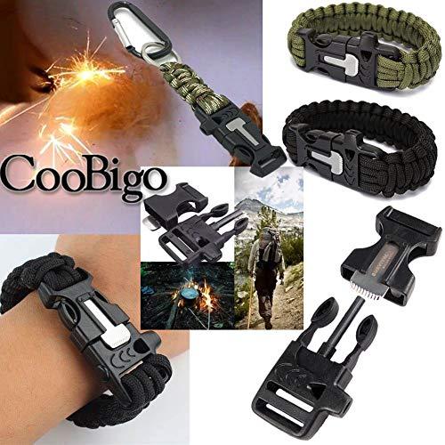 "CooBigo  6 10Pcs 3/4"" (19mm) Fire Starter Survival Whistle Buckle Flint Scraper for Outdoor Hiking Camping Backpack Bag"