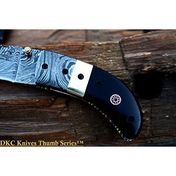 """DKC Knives Folding Survival Knife 5 (8 6/18) Sale DKC-43 Black Thumb Damascus Steel Folding Pocket Knife 3.5"""" Folded 6.25"""" Open 7.5oz 2.25"""" Blade Black Buffalo Horn Damascus Bolster"""