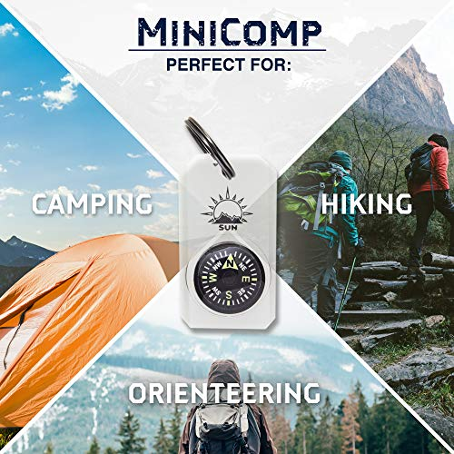 Sun Company Survival Compass 7 MiniComp - Zipperpull Mini Compass with Split Ring | Easy-to-Read Compass for Jacket, Parka, or Pack