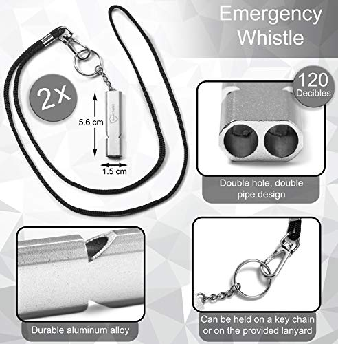 Good Sense Security  3 Good Sense Security - 2 Emergency/Survival Whistles on Keychain or Lanyard - Personal Safety for Women and Kids - Easy to Blow and Ultra Loud