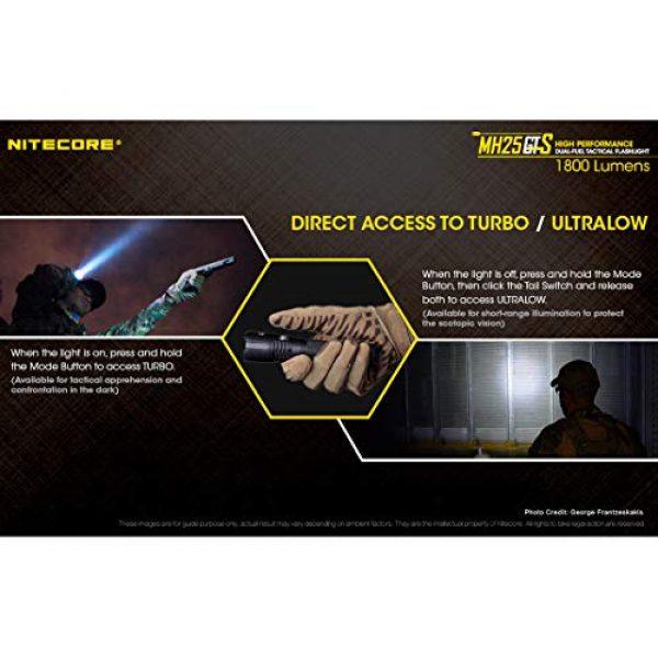 Nitecore Survival Flashlight 7 Nitecore MH25GTS 1800 Lumen USB Rechargeable Tactical Flashlight RSW2D Pressure Switch and LumenTac Offset Mount