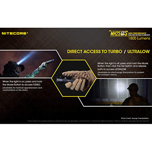 Nitecore  7 Nitecore MH25GTS 1800 Lumen USB Rechargeable Tactical Flashlight RSW2D Pressure Switch and LumenTac Offset Mount