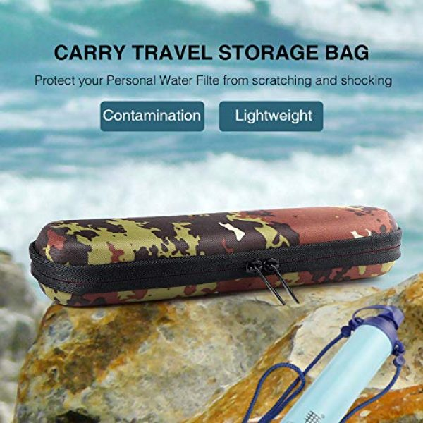 Techway Survival Water Filter 2 Techway Carry Travel Case Cover for LifeStraw and LifeStraw Steel Personal Water Filter with Hand Strap and Carabiner Clip Sewage Purification Storage Bag(Case Only)