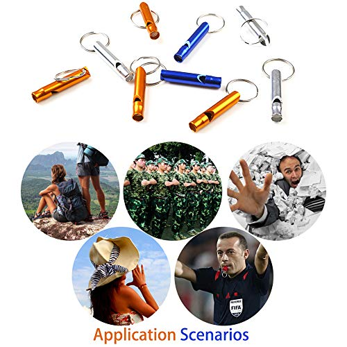 Hapy Shop  2 Hapy Shop 20 Pcs Extra Loud Aluminum Whistles with Key Chain Emergency Whistles for Camping Hiking Hunting Outdoors Sports and Emergency Situations