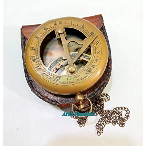 Aysha Nautical Survival Compass 2 Aysha Nautical Brass Sundial Compass with Leather Case and Chain - Push Open Compass - Steampunk Accessory - Antiquated Finish - Beautiful Handmade Gift -Sundial Clock
