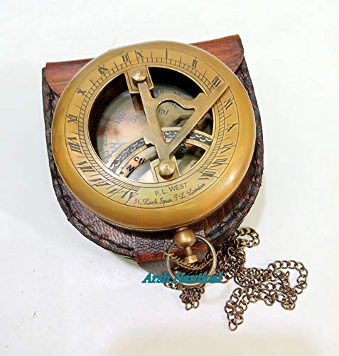 Aysha Nautical  2 Aysha Nautical Brass Sundial Compass with Leather Case and Chain - Push Open Compass - Steampunk Accessory - Antiquated Finish - Beautiful Handmade Gift -Sundial Clock